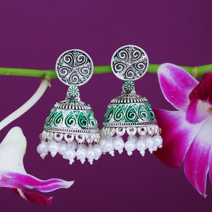 Sukkhi Equisite Oxidised Mint Collection Pearl Jhumki Earring For Women