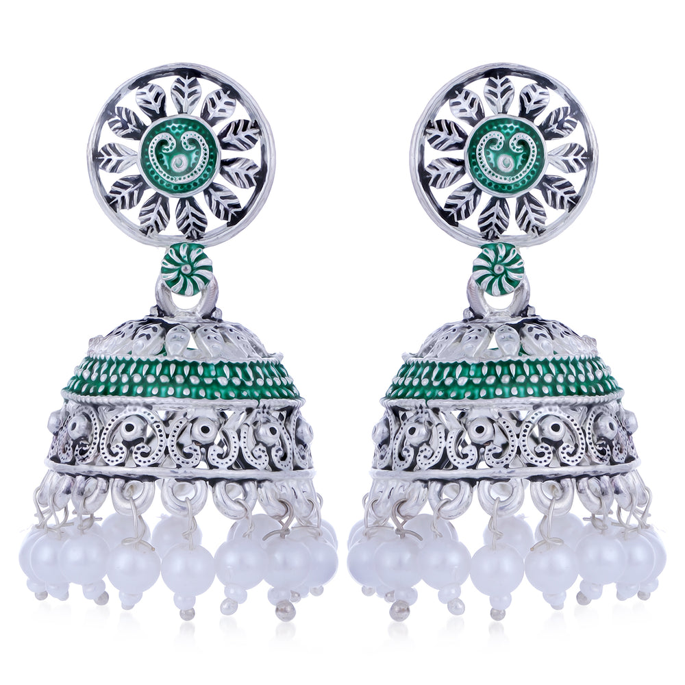 Sukkhi Designer Oxidised Mint Collection Pearl Jhumki Earring For Women