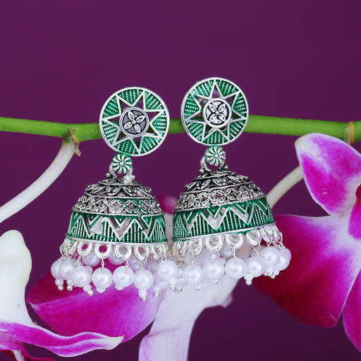 Sukkhi Excellent Oxidised Mint Collection Pearl Jhumki Earring For Women