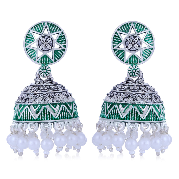 Sukkhi Pretty Oxidised Mint Collection Pearl Jhumki Earring For Women