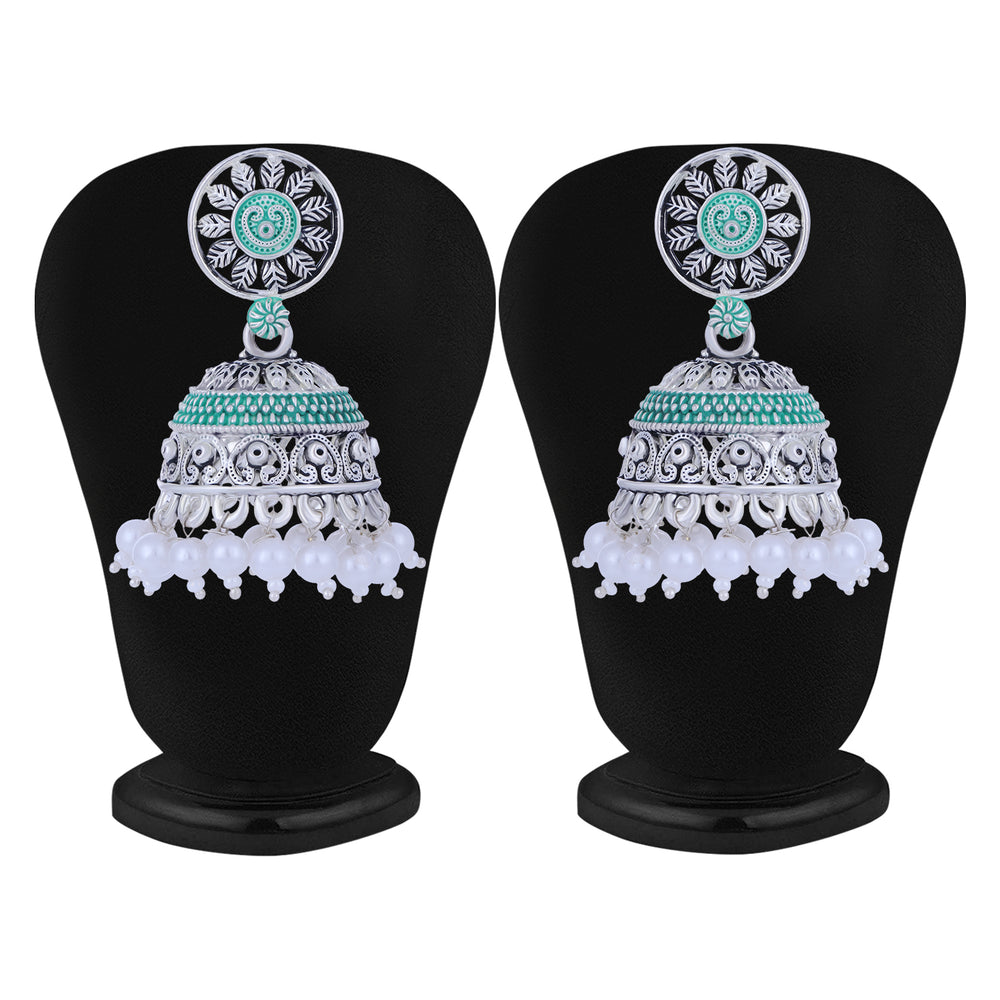 Sukkhi Beautiful Oxidised Mint Collection Pearl Jhumki Earring For Women