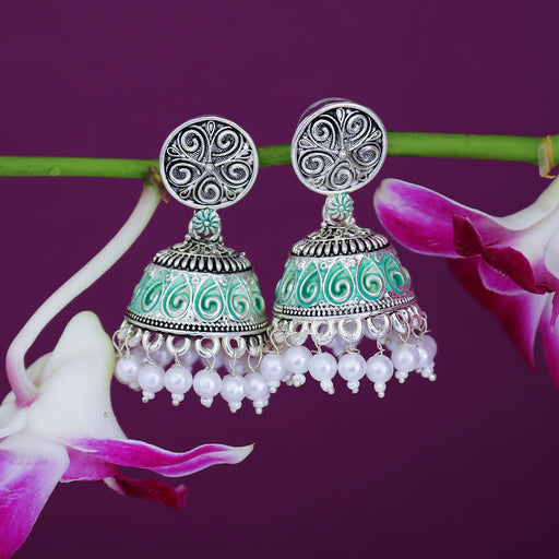 Sukkhi Adorable Oxidised Mint Collection Pearl Jhumki Earring For Women