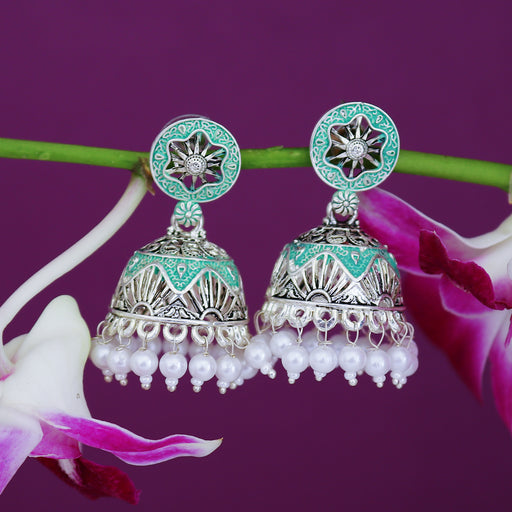 Sukkhi Astonish Oxidised Mint Collection Pearl Jhumki Earring For Women