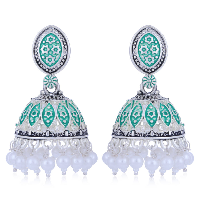 Sukkhi Ethnic Oxidised Mint Collection Pearl Jhumki Earring For Women