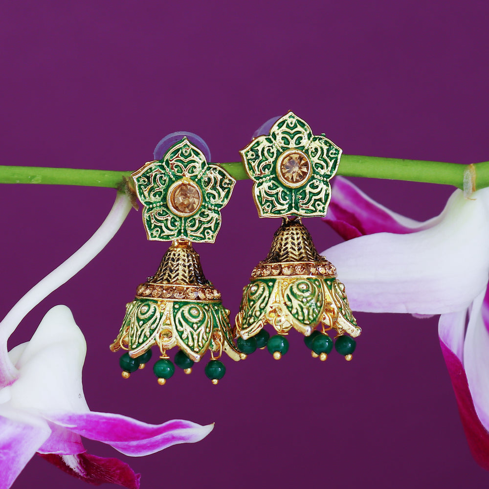 Sukkhi Ethnic LCT Gold Plated Mint Collection Jhumki Earring For Women