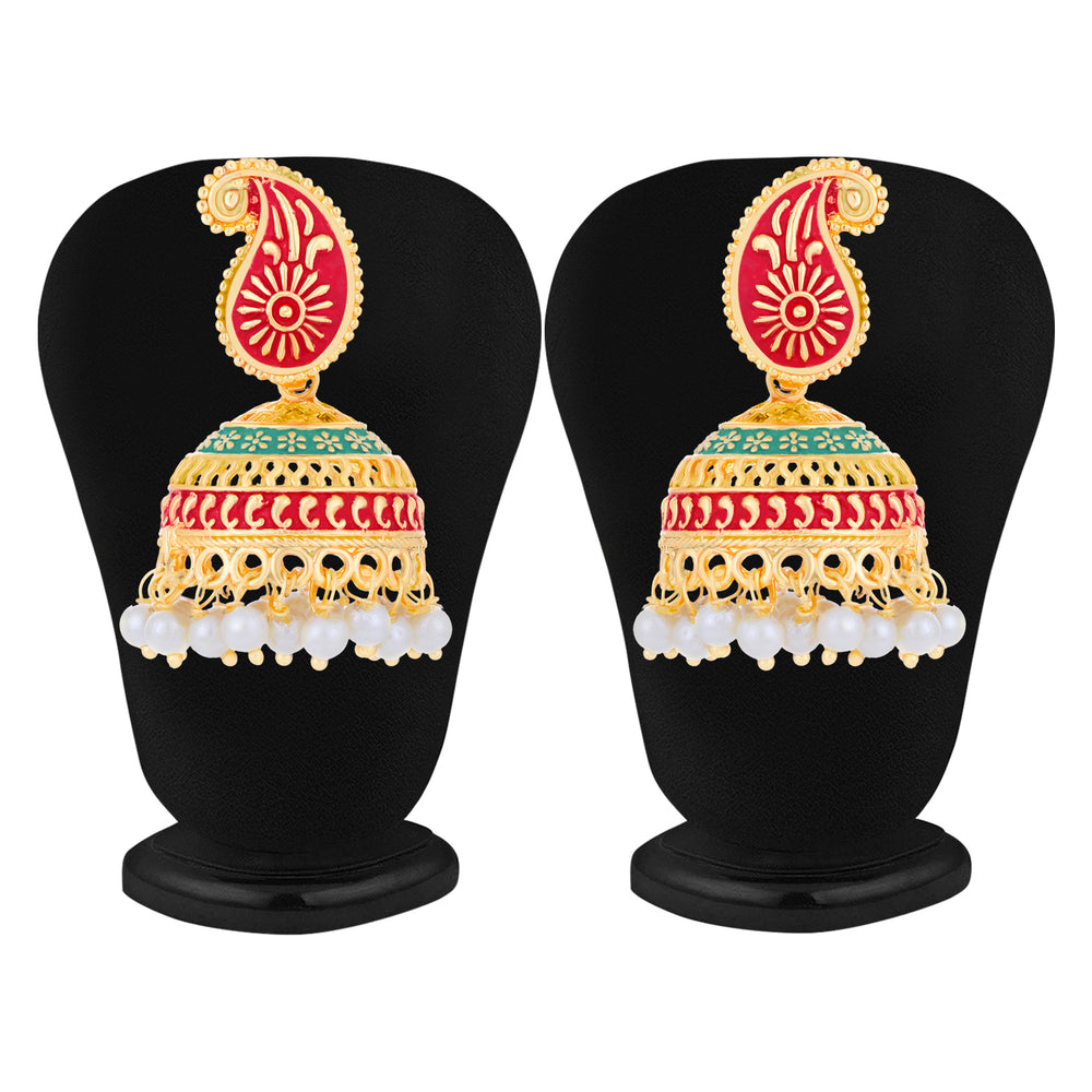 Sukkhi Ethnic Gold Plated Paisley Mint Collection Jhumki Earring For Women