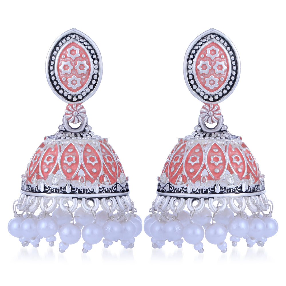 Sukkhi Gorgeous Oxidised Mint Collection Pearl Jhumki Earring For Women