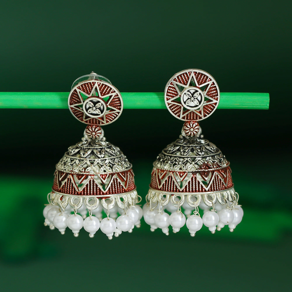 Sukkhi Trendy Oxidised Mint Collection Pearl Jhumki Earring For Women