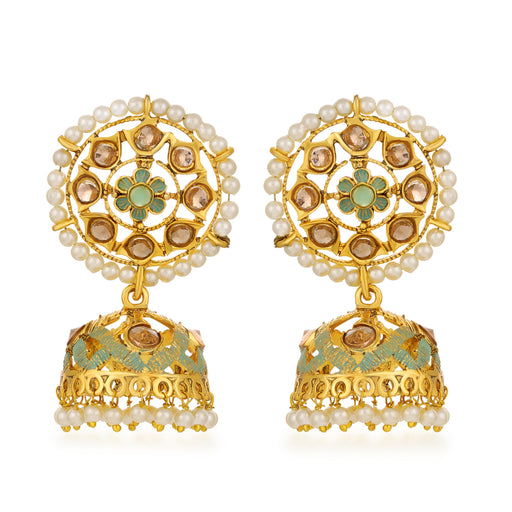 Sukkhi Shimmering LCT Gold Plated Floral Pearl Green Mint Meena Collection Jhumki Earring For Women