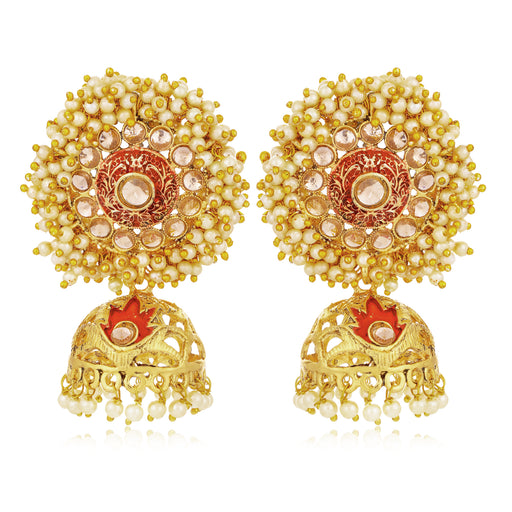 Sukkhi Elegant LCT Gold Plated Pearl Red Mint Meena Collection Jhumki Earring For Women