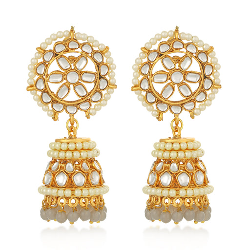 Sukkhi Sparkly Kundan Gold Plated Pearl Jhumki Earring For Women