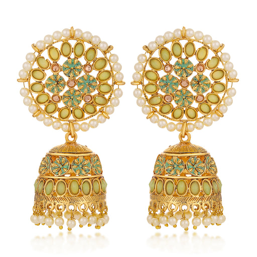 Sukkhi Gleaming LCT Gold Plated Pearl Green Mint Meena Collection Jhumki Earring For Women
