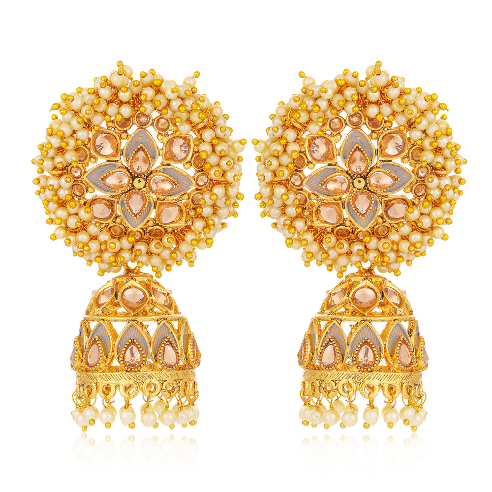 Sukkhi Glittering LCT Gold Plated Floral Pearl Mint Meena Collection Jhumki Earring For Women