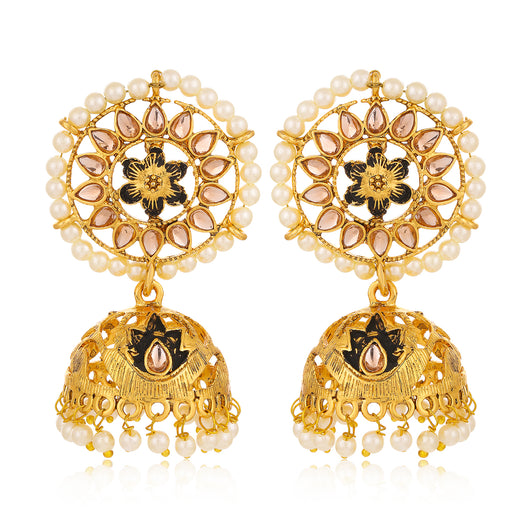 Sukkhi Adorable LCT Gold Plated Floral Pearl Mint Meena Collection Jhumki Earring For Women
