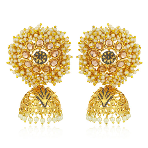 Sukkhi Splendid LCT Gold Plated Floral Pearl Mint Meena Collection Jhumki Earring For Women