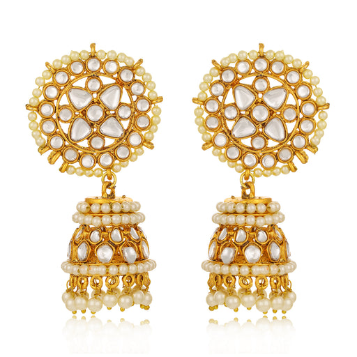 Sukkhi Spectacular Kundan Gold Plated Pearl Jhumki Earring For Women