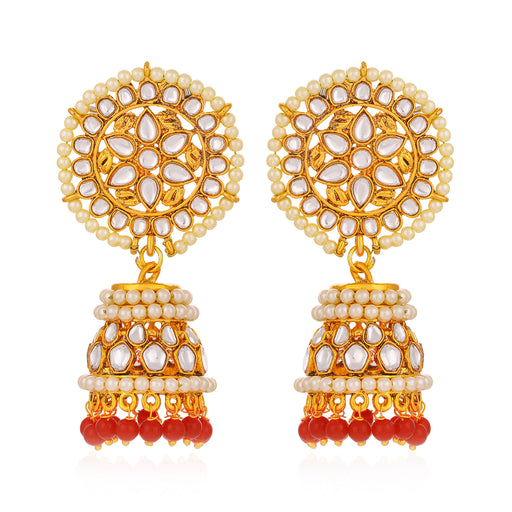 Sukkhi Dazzling Kundan Gold Plated Floral Pearl Jhumki Earring For Women