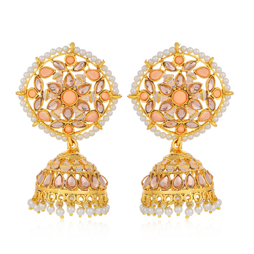 Sukkhi Exclusive LCT Gold Plated Floral Pearl Mint Meena Collection Jhumki Earring For Women