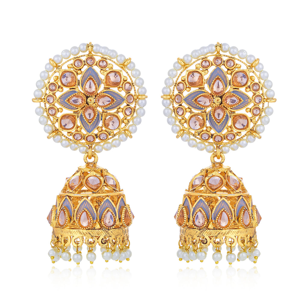 Sukkhi Glorious LCT Gold Plated Floral Pearl Mint Meena Collection Jhumki Earring For Women