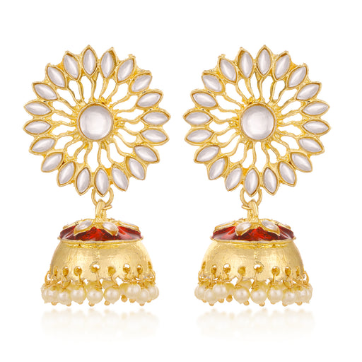 Sukkhi Adorable Kundan Gold Plated Pearl Floral Meenakari Jhumki Earring For Women