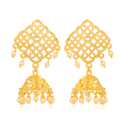 Sukkhi Gleaming Gold Plated Pearl Jhumki Earring For Women