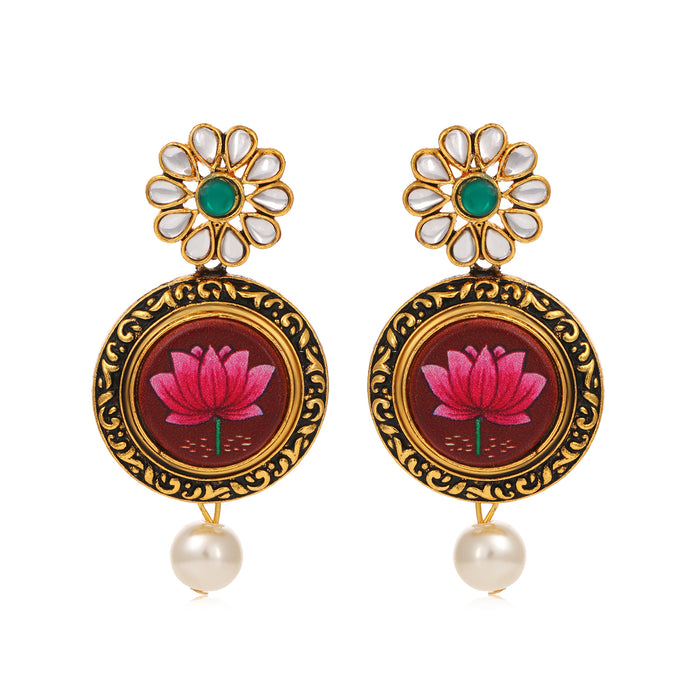 Sukkhi Excellent Gold Plated Mint Meena Collection Dangle Earring for Women