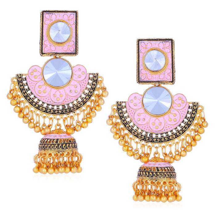 Sukkhi Glorious Gold Plated Mint Meena Collection Chandbali Earrings For Women