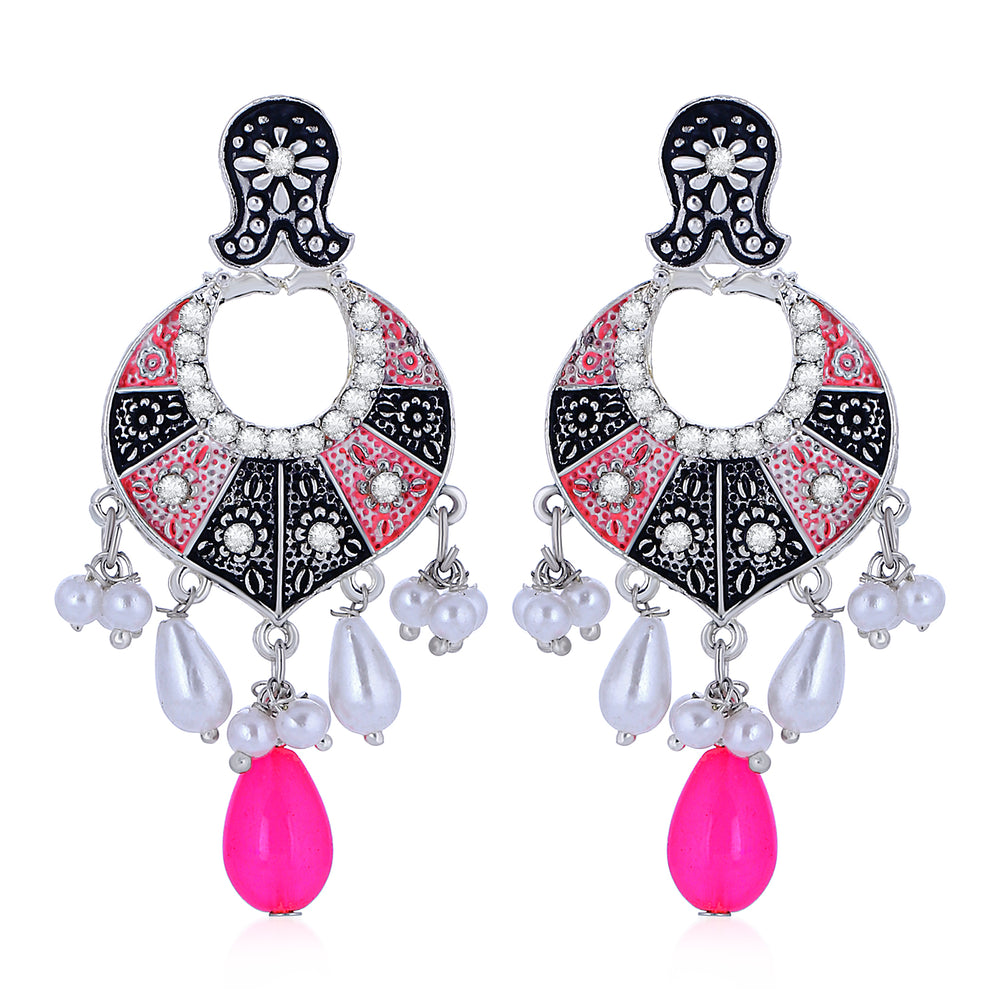 Sukkhi Amazing Oxidised Floral Mint Meena Collection Chandbali Earrings For Women