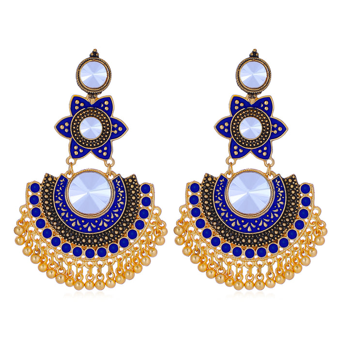 Sukkhi Elegant Gold Plated Floral Mint Meena Collection Chandbali Earrings For Women