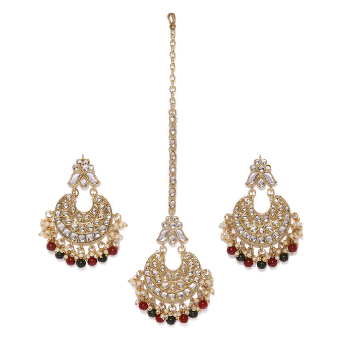 Sukkhi Classy Gold Plated Earring and Maangtikka Set for Women