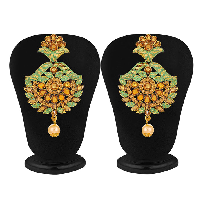 Sukkhi Fine Gold Plated LCT Stone Chand Bali Earring & MaangTikka for Women