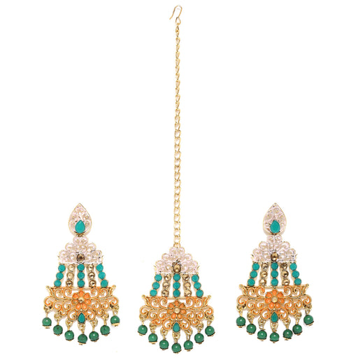 Sukkhi Cluster Gold Plated Mint Collection Earring and Maangtikka Set for Women