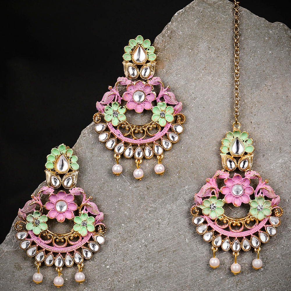 Sukkhi Delightful Gold Plated Mint Collection Earring and Maangtikka Set for Women