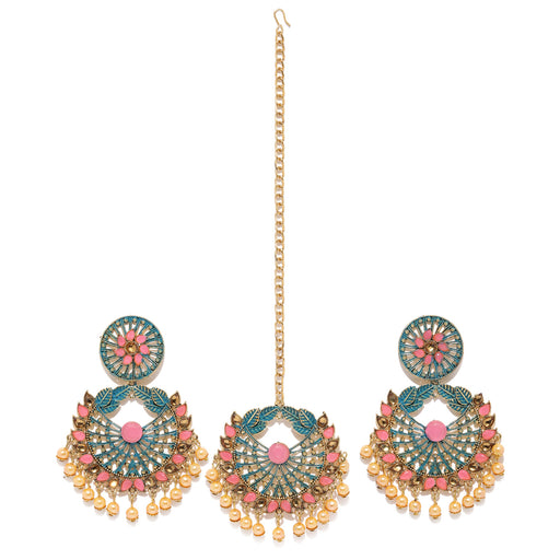 Sukkhi Designer Gold Plated Mint Collection Earring and Maangtikka Set for Women