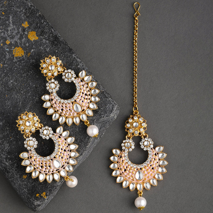 Sukkhi Equisite Gold Plated Mint Collection Earring and Maangtikka Set for Women
