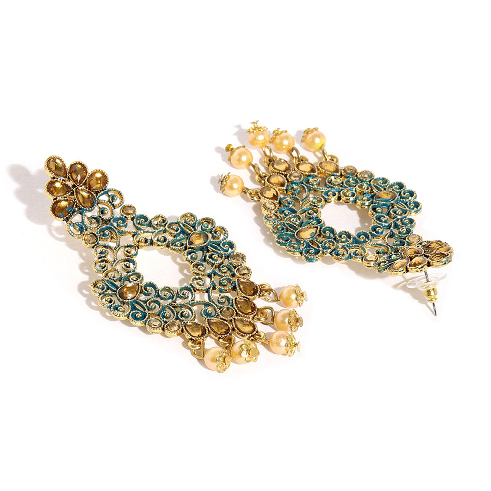 Sukkhi Excellent Gold Plated Mint Collection Earring and Maangtikka Set for Women