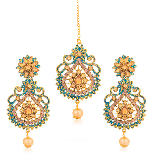 Sukkhi Graceful Gold Plated LCT Stone Dangle Earring & MaangTikka for Women
