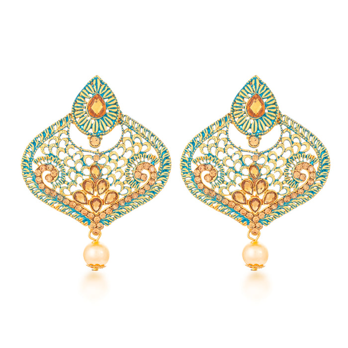 Sukkhi Lavish Gold Plated Mint Meena Collection Dangle Earring & MaangTikka for Women