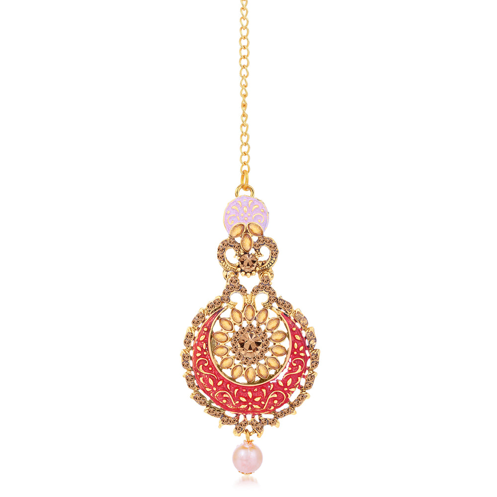 Sukkhi Dazzling LCT Gold Plated Mint Collection Chandbali Earring Maangtikka Set For Women