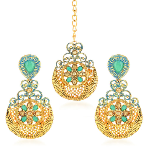 Sukkhi Marvellous Gold Plated Mint Meena Collection Chandelier Earring & MaangTikka for Women