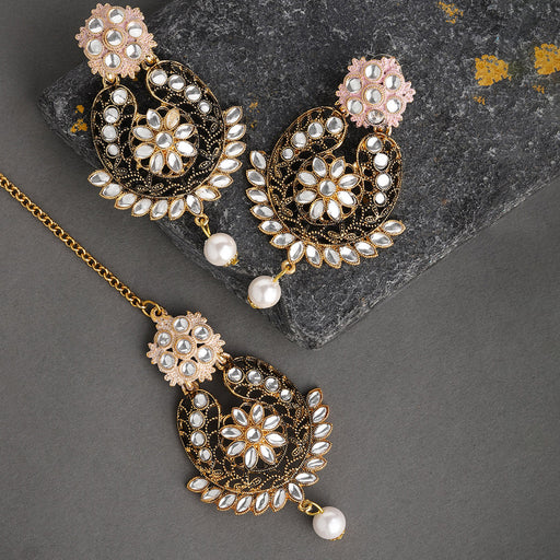 Sukkhi Eye Catching Gold Plated Mint Collection Earring and Maangtikka Set for Women