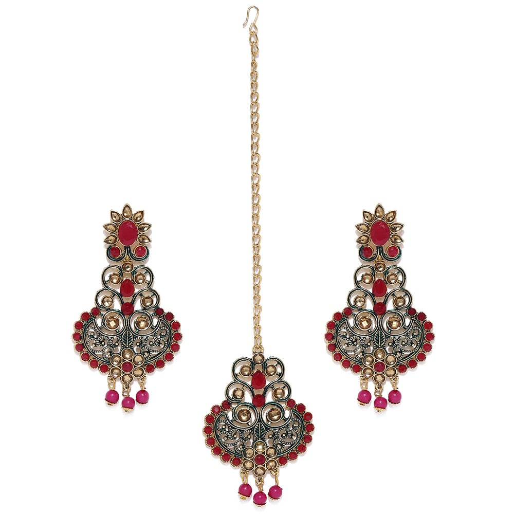 Sukkhi Fabulous Gold Plated Earring and Maangtikka Set for Women