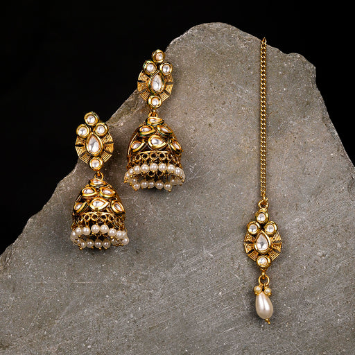 Sukkhi Fashionable Gold Plated Jhumki Earring and Maangtikka Set for Women