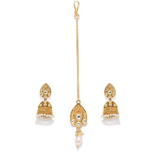 Sukkhi Fine Gold Plated Jhumki Earring and Maangtikka Set for Women