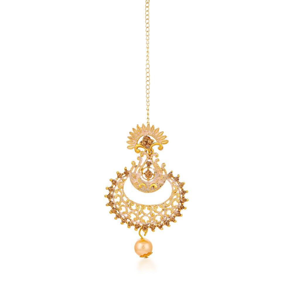 Sukkhi Antique Gold Plated Mint Meena Collection Chand Bali Earring & MaangTikka for Women