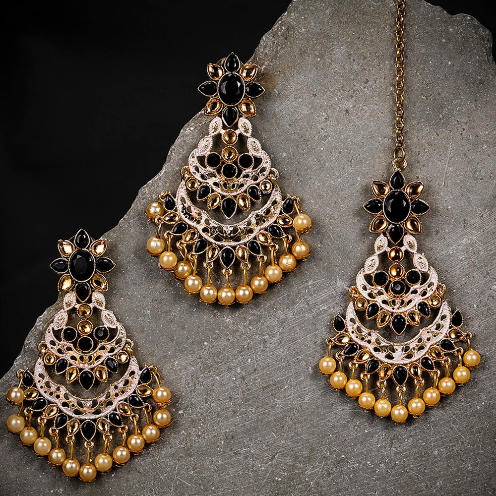 Sukkhi Glitzy Gold Plated Mint Collection Earring and Maangtikka Set for Women