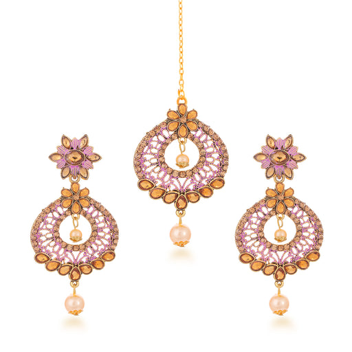 Sukkhi Appealing Gold Plated LCT Stone Dangle Earring & MaangTikka for Women