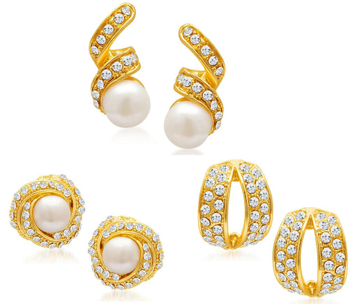 Sukkhi Divine Gold Plated Alloy Set of 3 Stud Earrings Combo