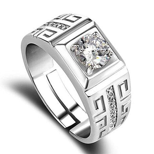 Sukkhi Designer Cubic Zirconia Rhodium Plated Gents Ring - 18