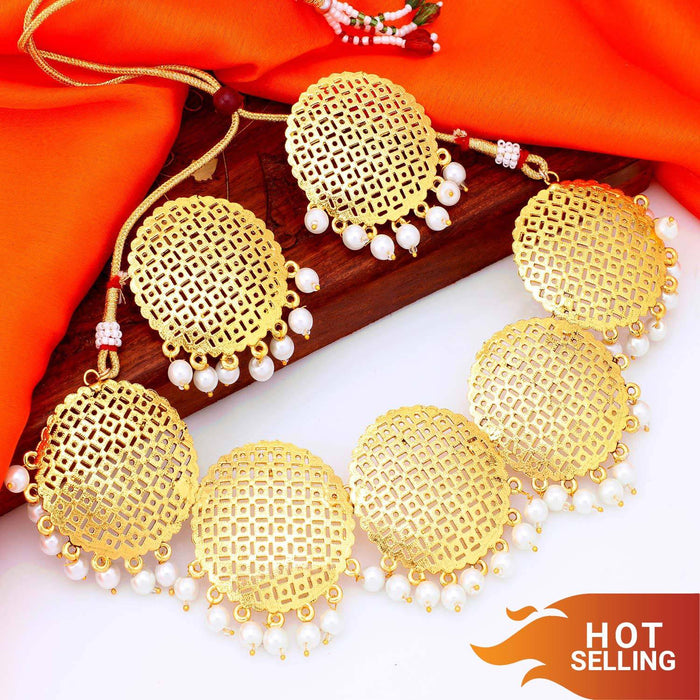 Sukkhi Classic Gold Plated Pearl Choker Necklace Set For Women